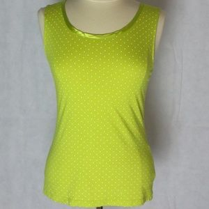 Banana Republic Polka Dot Green Tank Luxe Touch